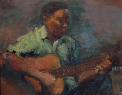 Evan Plays us a Tune 16 x 20