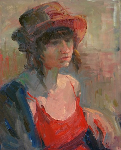 Girl with Hat 20 x 16