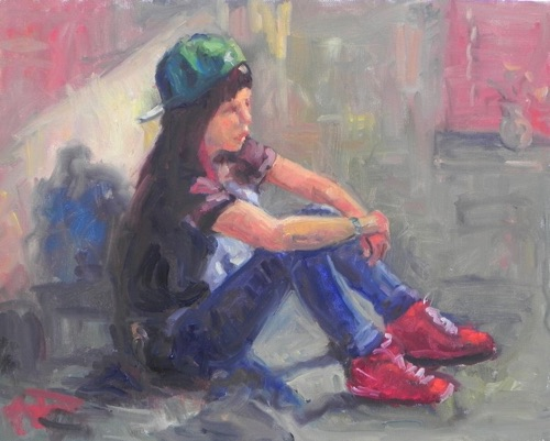 Girl with Red Sneakers 16 x 20