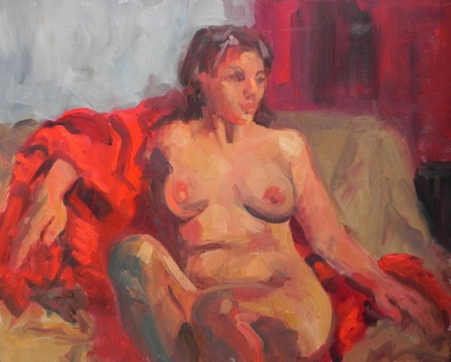 Nude with Red Blanket 16 x 20