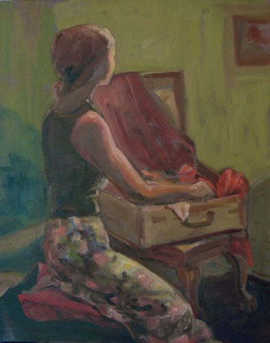 Remembering/Girl with Suitcase 20 x 16