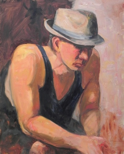Young Man Contemplating 20 x 16