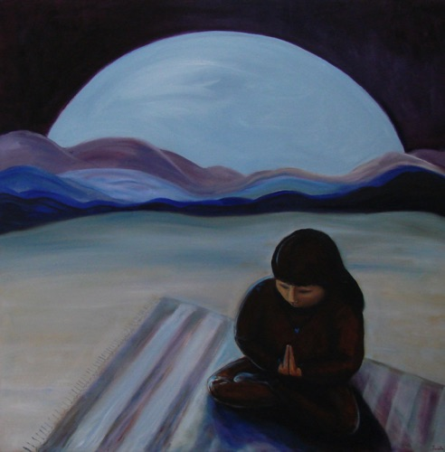 Prayer at Moonrise oil, 30 x 30 Sold, Giclees or prints only