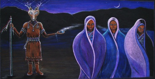 Three Sisters  and the Deer Spirit Sold - Prints available